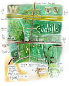 Gödöllői Waldorf Iskola – térkép Kőhalmi Ákos munkája