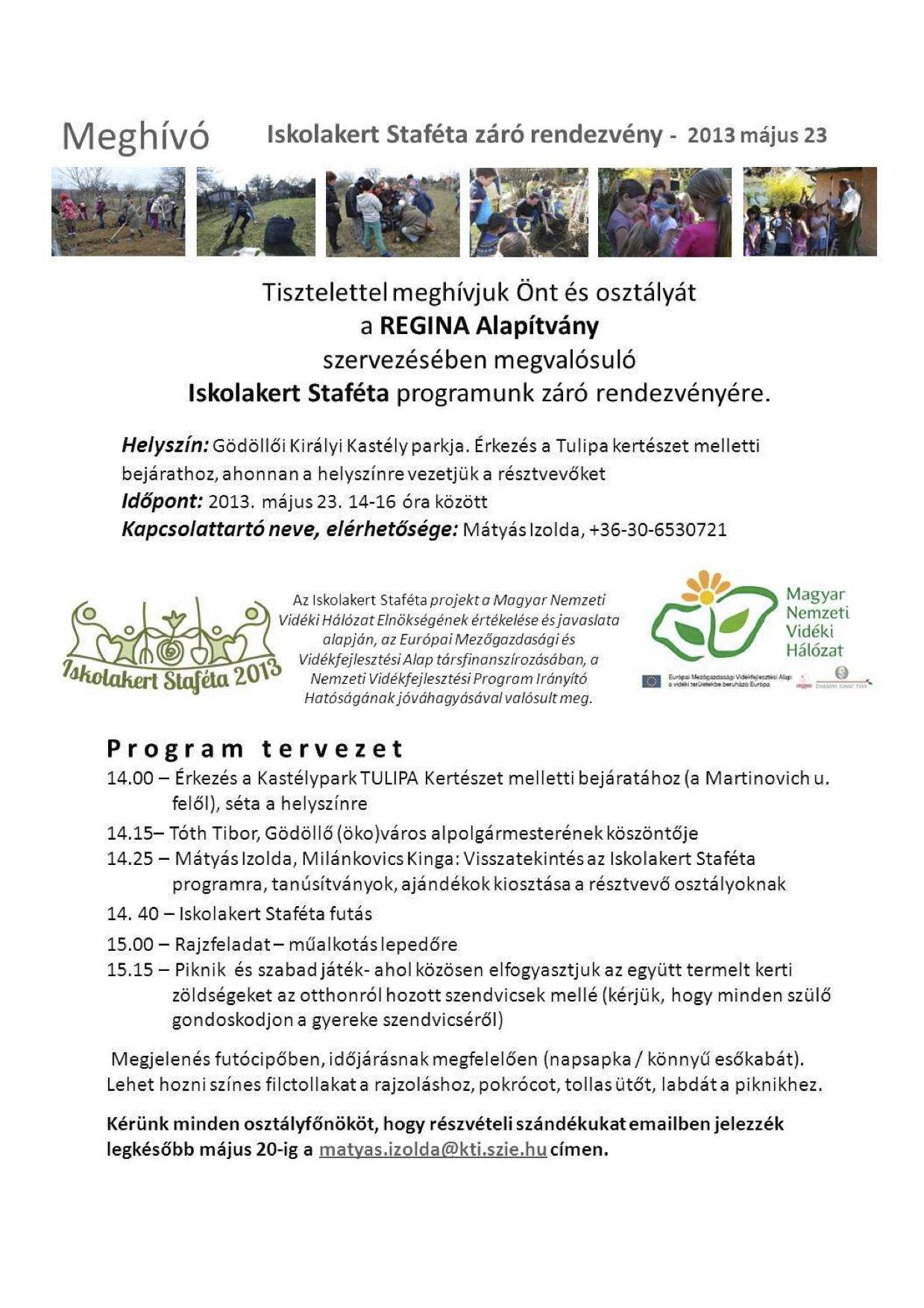 Iskolakert Staféta záró meghívója