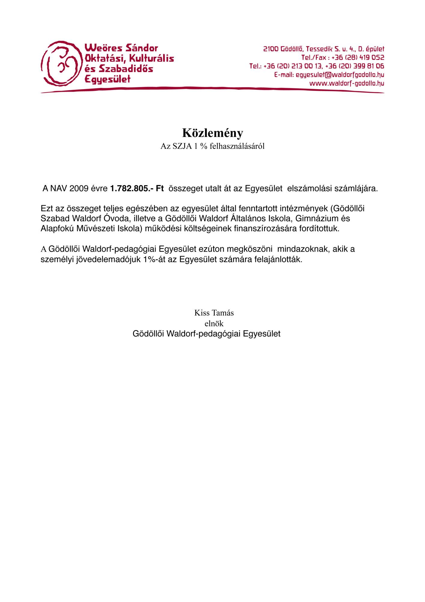 2009 évi felhasználási közlemény