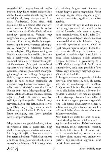 Dióhéj 2014 Mihály Az aratás öröme 3